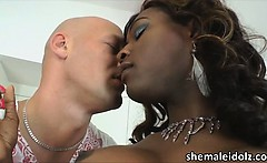 Sultry shemale Chanel in interracial sex