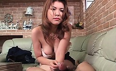 Foxy jap redhead in big boobs blowing loaded cock with lust
