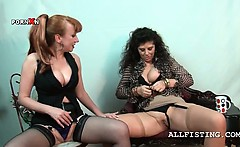 Slutty mature lesbos stripping and tongue teasing cunt