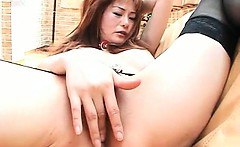 Nasty asian threesome with redhead hottie cunt smashed hard