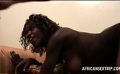 Afro tramp deep throats and fucks white shaft at the hotel