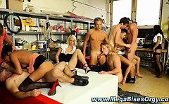 Bi curious fuck train orgy