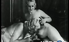 Natural blonde girls blowing a guy in retro porn