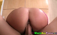 Big white ass babe shows off and gets pussy deeply pounded