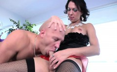 Bald guy gets his face cock slapped by a transsexual