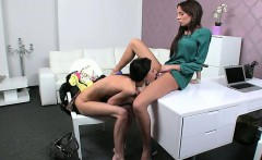 Skinny amateur licks pussy of female agent