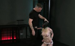 Bound blonde in gimp mask face and pussy fucked