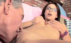 Pretty Brunette Teen Getting Plowed By Old Man