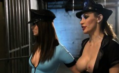 two busty sluts enjoying foursome action in a jail cell