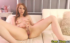 Gorgeous Redhead Strips and Masturbates