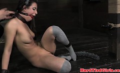 Puppy play sub chained up by her master