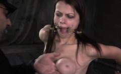 Breast bondage sub punished with ropes