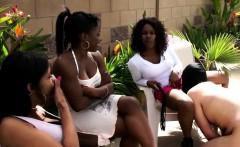 ebony femdom group with some slaves