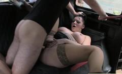 British busty BBW anal fucks in fake taxi