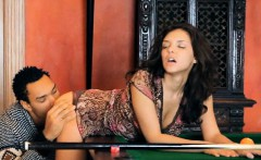 Sexy Penelope fucked with black dick on billiards table