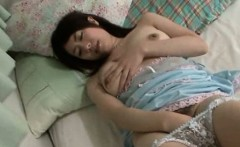 Lonely jap in pajamas solo masturbation