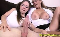 Tugging loving granny helps tugging dick