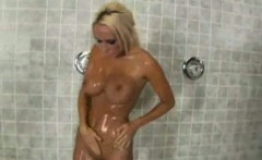 super hot blonde caught in the shower