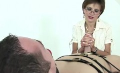 Mature mistress tugs and sucks cock