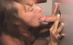 Mature Brunette Sucking Dicks Through A Glory Hole