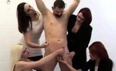 Four femdom British ladies give tied CFNM guy a handjob