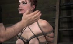 Breast bondage sub toyed and slapped