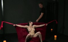 Tied up brunette slave fucked from behind