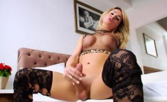 Tranny shemale with big cock wanking