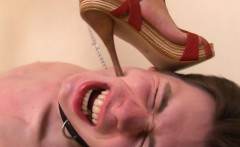 Sub wants to admire domina's oiled up legs but only gets