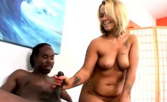 Blonde Handworking Black Dong