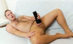 Corpulent blond boy Arnie jerks off his dick in pantyhose