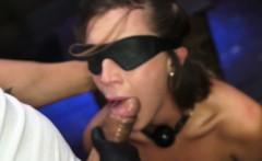 Rough dom facefucks blindfolded his slave
