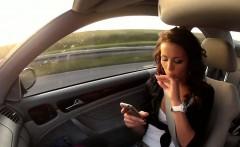 Taxi driver fucks beautiful Czech brunette babe