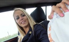 Sexy blonde stewardess Christen Courtney railed in the car