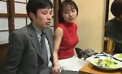 Asian Giving Hand Job During Dinner