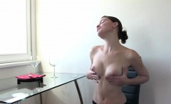 czech brunette fires piss into the toilet