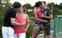 PUBLIC orgy with a big breasted girl on a freeway overpass
