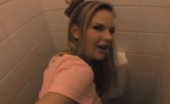 Blonde Taking Cumshot Facial In Public Bathroom Stall