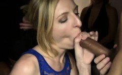 blondes hungrily devour big black cock while friends watch