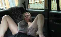 Naughty passenger fucked by fake driver in the backseat