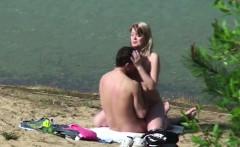 Young German Teen Couple voyeur in sex on hamburg beach