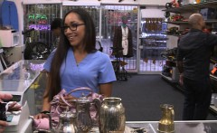 Babe in need of money fucked by pawn man in the backroom