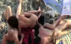 Public Orgy on the beach w freak girls