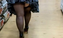 Fat Woman In Stockings And Heels Shopping