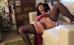 MILF Wearing Stockings Masturbates With A Toy