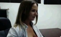 Cute Girlfriend Strips In Office and Clit Play