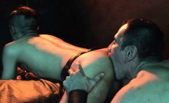 Older SM stud deepthroats his kneeling twink slave