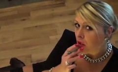 Mature Blonde Smoking A Cigar Point Of View