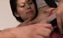 Ran Monbu gets cum on racy cans and hairy twat after