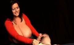Guy Gets A Humiliating Handjob From Huge Titted Wife.